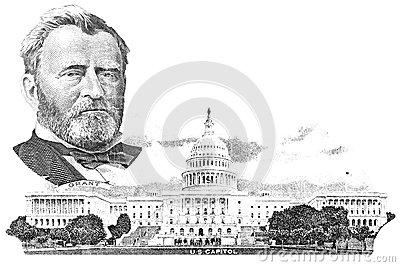 Gravure of Ulysses S. Grant and Capitol