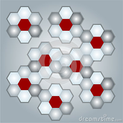 Gray background with honeycombs