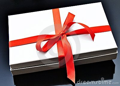 Gray box with red ribbon