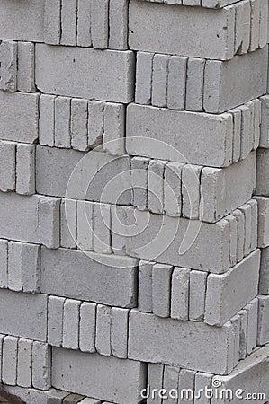 gray bricks for construction