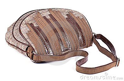 Gray and brown women s purse with leather stripes