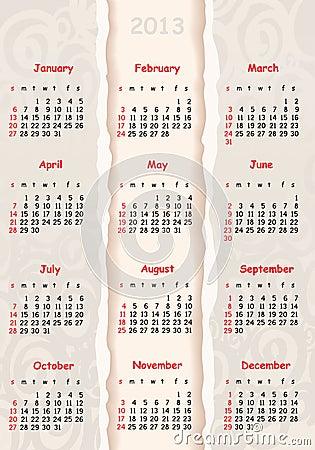 Gray calendar for 2013