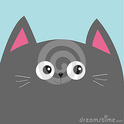 Free Gray Cat Head With Big Eyes And Moustache. Cute Cartoon Character. Pet Baby Collection Card. Flat Design. Royalty Free Stock Image - 78403426