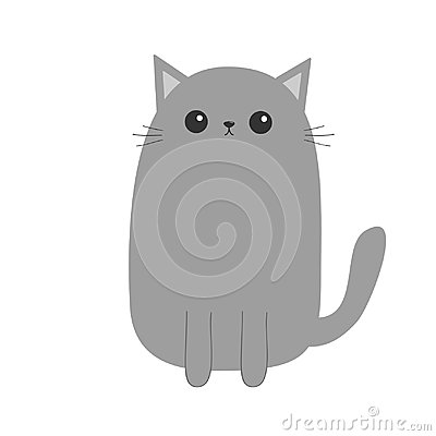 Free Gray Cat Kitten. Cute Cartoon Kitty Character. Kawaii Animal. Funny Face With Eyes, Moustaches, Nose, Ears. Love Greeting Card. Fl Stock Photo - 104519080