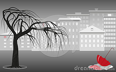 Gray city landscape Vector Illustration