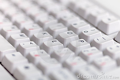 Gray classical computer keyboard close up