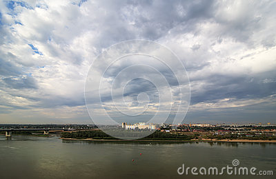 Gray clouds over the city. Stock Photo