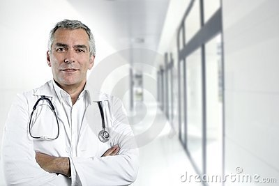 Gray hair expertise senior doctor hospital