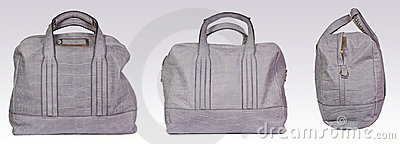 Gray leather woman bag
