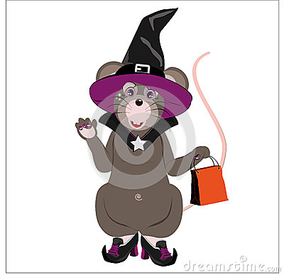 Gray little mouse dressed as a witch
