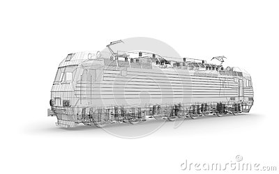 Gray locomotive 3d model