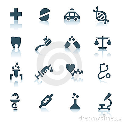 Gray medicine icons on white background