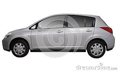 Gray metallic car isolated on white