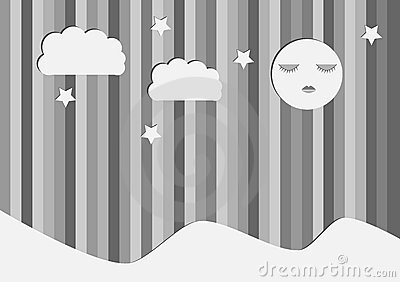Gray night background. Moon, stars, clouds