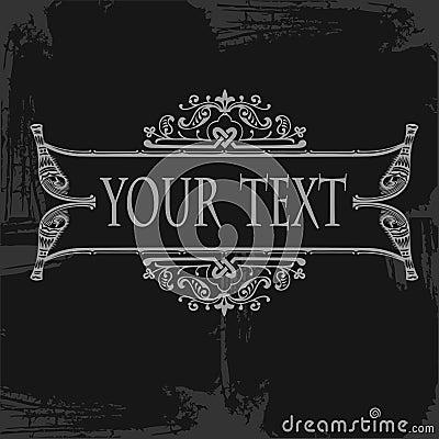 Gray Ornate Grunge Scroll  Banner Quad