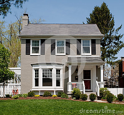 Gray painted brick house stock photo image 40262984 - Houses with bay windows ...