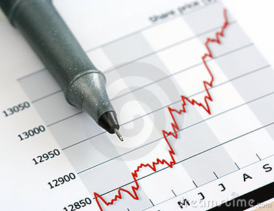 Gray pen on white growing share price chart
