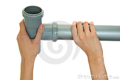 Gray plastic pipes