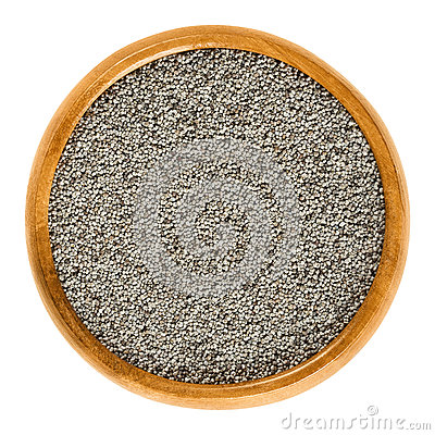 Free Gray Poppy Seeds In Wooden Bowl Over White Stock Photo - 86439850