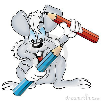 Gray rabbit and crayons