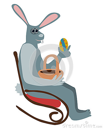 Gray rabbit sitting on rocking chair and holding easter egg