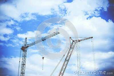 Gray Rectangular Power Crane With Blue Cumulus Clouds Above As Background During Daytime Free Public Domain Cc0 Image