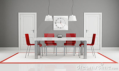 Gray and red dining room