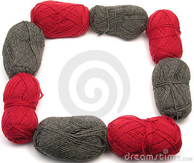 Gray and red new wool as frame