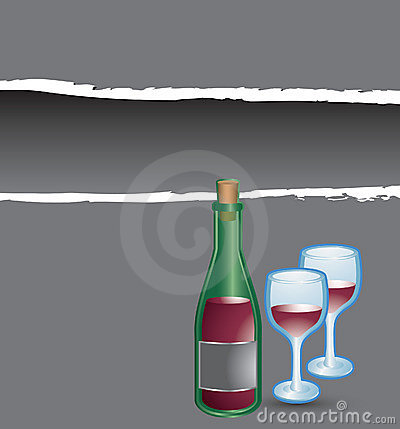 Gray ripped banner wine bottle and glasses
