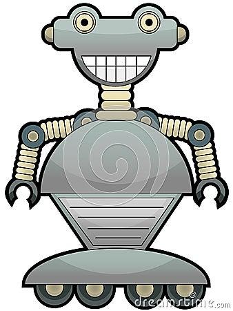 Gray robot with big smile wheel feet