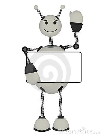 Gray Robot holds blank ad sign smiles waves