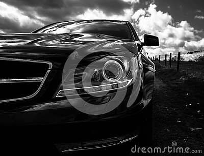 Gray Scale Photo Of Car On Side Of The Road Free Public Domain Cc0 Image