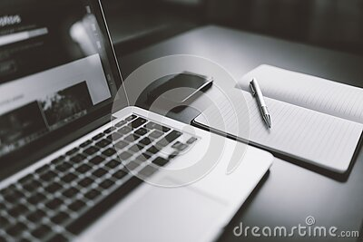 Gray Scale Photography Of Macbook Iphone Notebook On Table Free Public Domain Cc0 Image
