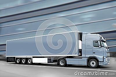 Gray  semi truck