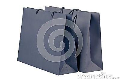 Gray shopping bags.