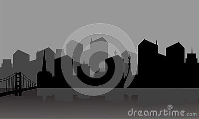 Gray silhouette city Vector Illustration