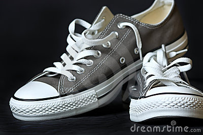 Gray sneakers classic youth footwear