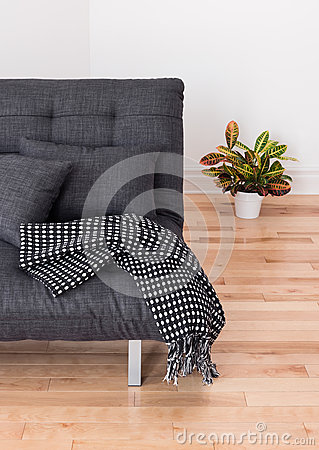 Gray sofa and bright plant in the living room