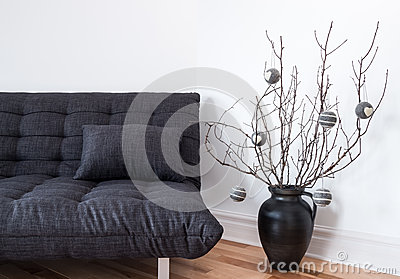 Gray sofa and simple winter decorations