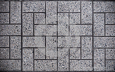 Gray Square Paved with Small Square Corners and Gray Rectangles. Seamless Tileable Texture Stock Photo