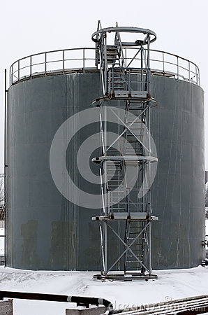 Gray storage tank with stairs
