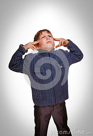 Free Gray Teenager Boy Baby Covered His Ears Screaming And Closed Eye Stock Image - 40034781