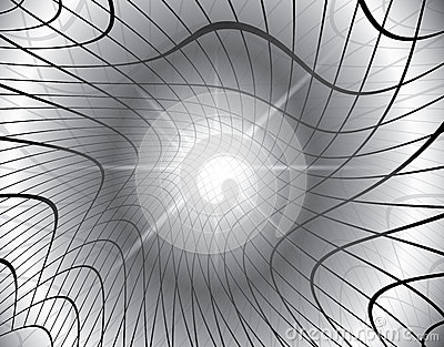 Gray vector background with distorted grid