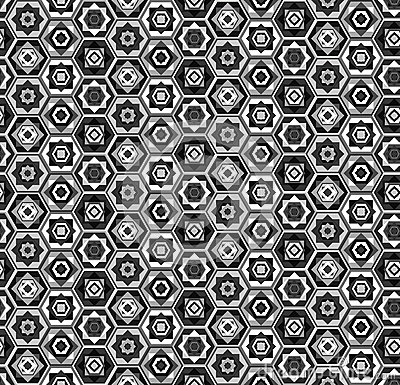 Gray and white hexagons pattern Vector Illustration