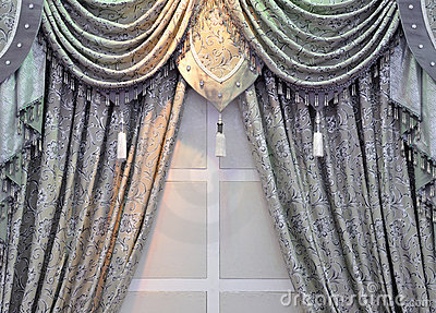 Gray window curtain