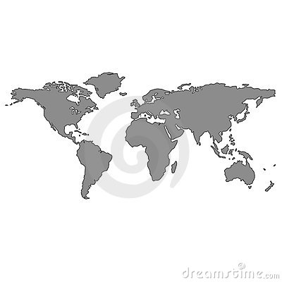 Gray world map