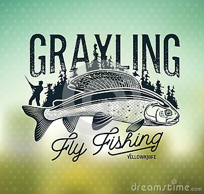 Free Grayling Fly Fishing Logo. The Lady Of The River Royalty Free Stock Images - 119334949