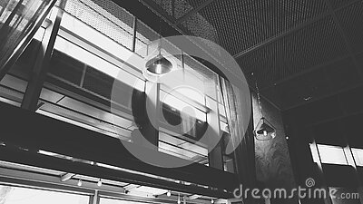 Grayscale Photo Of Hanged Ceiling Lamp Inside The Building Free Public Domain Cc0 Image