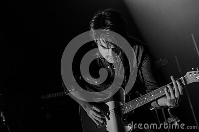 Grayscale Photo Of Man Playing Electric Guitar Free Public Domain Cc0 Image