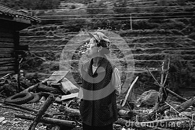 Grayscale Photo Of Man In Smoking Pipe In Village Free Public Domain Cc0 Image